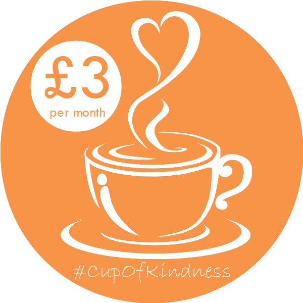 cup of coffee with steam rising from it in a heart shape, with '£3 per month' written in a circle to the left and #CupOfKindness below