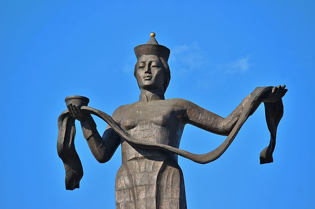 The Mother of Burtyatia statue, Siberia. A stone statue of a woman making a gesture of welcome By Аркадий Зарубин - Own work, CC BY-SA 3.0, https://commons.wikimedia.org/w/index.php?curid=22968703