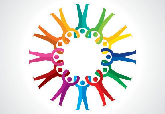 multicoloured 'people' figures holding hands and arranged in a circle