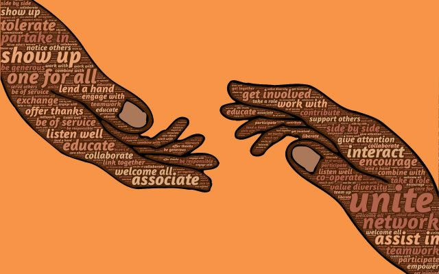 two hands, reaching towards each other, with words written on them, such as 'unite', 'associate', 'one for all', 'interact', 'get involved', 'show up', 'lend a hand'