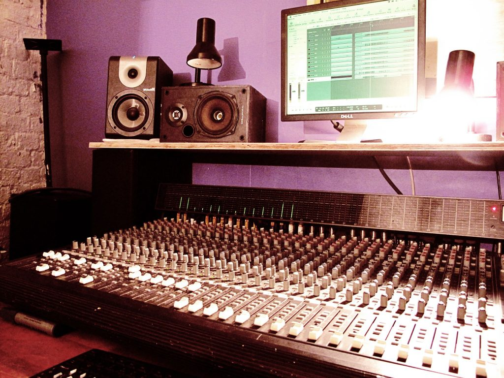 Radio studio mixing desk
