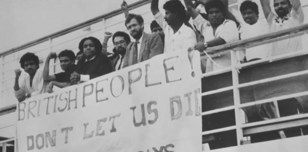 Jeremy Corbyn, Diane Abbot and hunger striking Tamil refugees aboard the Earl Williams 'prison ship' in 1987